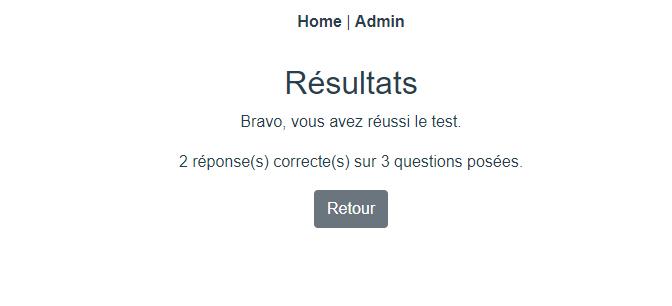 Logiciel de gestion de l'accès visiteurs Screenshot du résultat au quizz